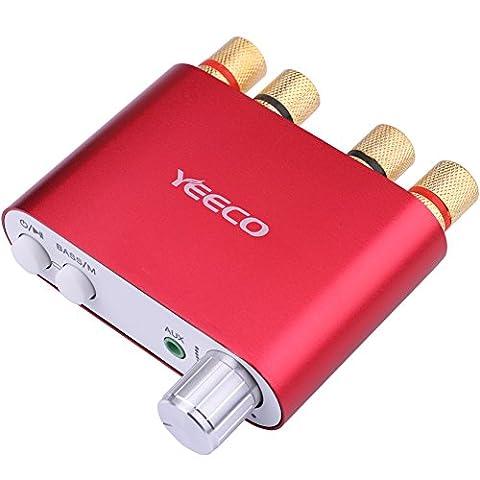 Yeeco La chaîne hi-fi Mini Bluetooth Amplificateur 50W + 50W DC 9-24 V Double canal Sans fil Bluetooth Stéréo Audio Récepteur Puissance Amp ampli Planche avec EUR-Type Source de courant Adaptateur pour Accueil Sonner Audio Système Ordinateur Portable (Rouge)