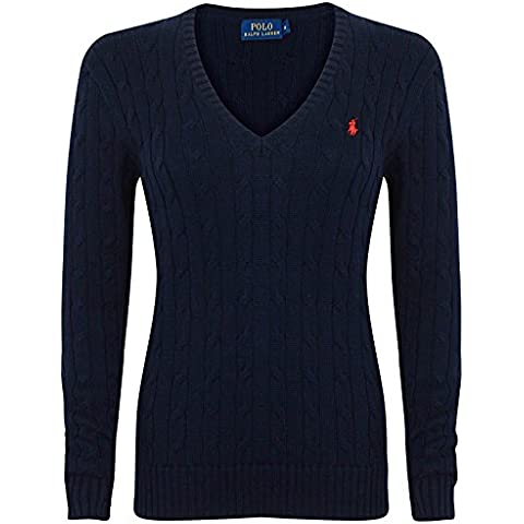 Polo Ralph Lauren Cable Knit V de Neck Cotton Jersey Kimberly Marina