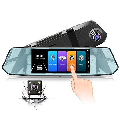 Dashcam Cámara de Salpicadero Coche Espejo Retrovisor, Fullero HD 1080P 170°Gran Ángulo Delantera y Trasera, con Visión Nocturna,G-Sensor,Grabación de Vídeo Continuo y Detección de Movimiento