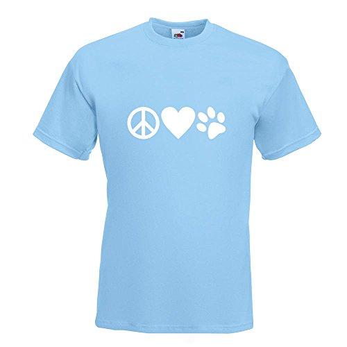 KIWISTAR - Peace Love Animals T-Shirt in 15 verschiedenen Farben - Herren Funshirt bedruckt Design Sprüche Spruch Motive Oberteil Baumwolle Print Größe S M L XL XXL Himmelblau