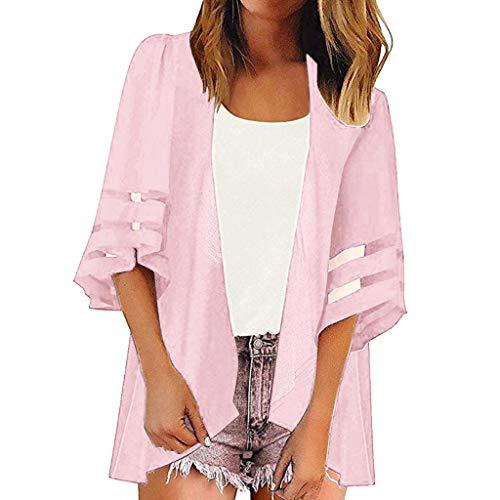 TEFIIR Sweatshirt für Frauen, Lange Ärmel Preisnachlass für Oktoberfest, Leistungsverhältnis Mesh Panel 3/4 Bell Reine Farbe Beiläufige Kimono Cardigan für Freizeit, Urlaub und Dating -