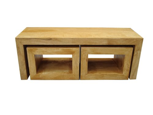 Homescapes Dakota Long John Coffee Table with 2 Cubes Oak Finish 100% Solid Mango Hardwood Hand Crafted Furniture (No Veneer)