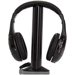 SODIAL(TM) 5-en-1 Hi-Fi Auriculares inalambricos para HDTV, TV, VCD, PC, MP3, MP4, CD, DVD / Radio FM