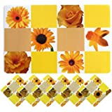 Yellow Weaves™ 6 Piece Dining Table Placemats With Tea Coasters- Yellow (Prints May Vary As Per Availability)