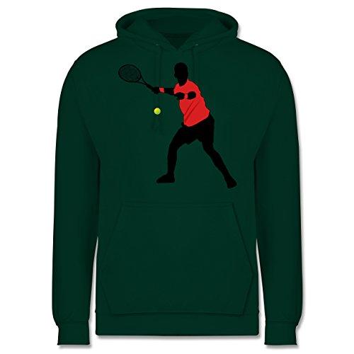 Tennis - Tennis Vorhand - Männer Premium Kapuzenpullover / Hoodie Dunkelgrün