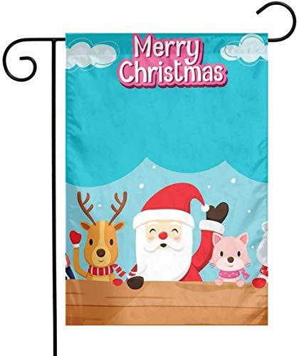 gdingxiantengsubaihuoshang Bandiera del Giardino Estivo - Bandiera Babbo Natale Animali su Legno a Doppia Faccia per illuminare la Tua casa 12 'x18'