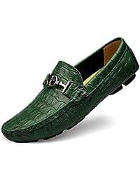 Mocasines Zapatos de Cuero Genuino de Corte bajo para Hombres Pisos cómodos Zapatos de Negocios Mocasines