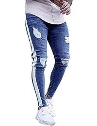 ITISME Homme Pantalons Jeans Homme, Automne Et Hiver Mode Casual Jeans  Biker Skinny Stretchy Enfilé 3e047571a65
