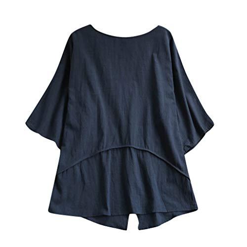 Zegeey Damen Oberteil T-Shirt Kurzarm V-Ausschnitt Mit Spitze Einfarbig Casual Lose Top T-Shirts Bluse Shirts Hemd (Marine,EU-50/CN-5XL)