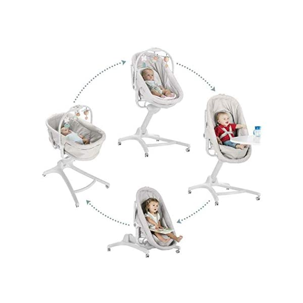 Chicco Baby Hug 4-in-1 Solution Glacial, 10.2 kg Chicco Multifunctional solution: comfy crib, a recliner from birth, a convenient highchair and finally your child's first chair from 6 months Adjustable height and backrest and 4 wheels Removable reducer to make the recliner suitable from birth 3