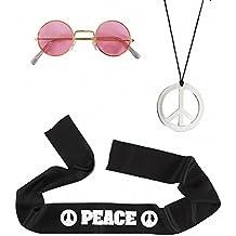 Widmann 05856 - Erwachsenenkostümset Hippie, Stirnband, Brille und Kette, Einheitsgröߟe