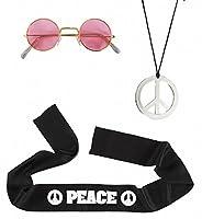 Headband glasses necklace Men Hippie Set Brand New