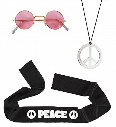 Set déguisement hippie (bandeau, lunettes et pendentif plastique peace and love)