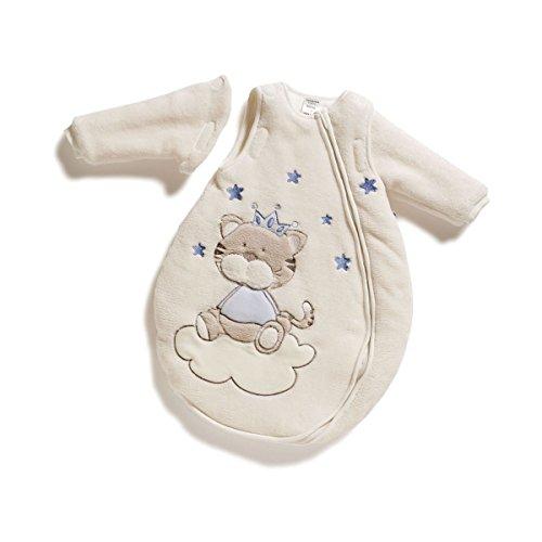 Jacky Jungen Baby Winter Schlafsack Katze, Mit abnehmbaren Ärmeln, Wattiert, Alter: 0-2 Monate, Größe: 50/56, Farbe: Beige/Blau, 350006