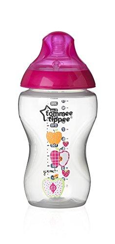 Tommee Tippee - Biberón easi-vent tetina silicona closer to nature flujo medio (340 ml.) decorado niña rosa/transparente