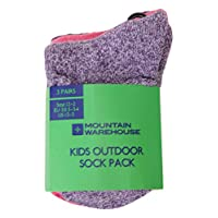 Mountain Warehouse Outdoor Kids Socks - 3 Pack, Comfortable Summer Socks, Secure Fit Childrens Socks, Fine Toe Seams - Ideal for Walking, Travelling & Everyday USe