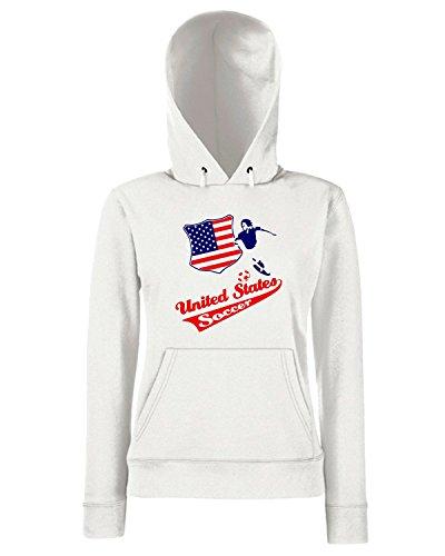 T-Shirtshock - Sweats a capuche Femme WC0117 USA STATI UNITI UNITED STATE. Blanc