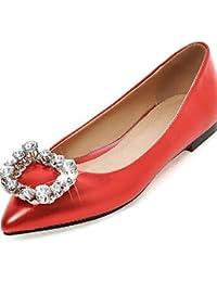 ZQ YYZ Zapatos de mujer-Tac¨®n Plano-Puntiagudos-Planos-Exterior / Vestido / Casual-Cuero Patentado-Negro / Rojo / Blanco , black-us8.5 / eu39 / uk6.5 / cn40 , black-us8.5 / eu39 / uk6.5 / cn40