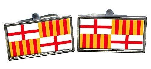 Barcelona (Spanien) Flagge Manschettenknöpfe in einer Chrom Etui