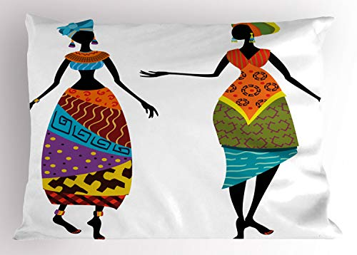 Kostüm Stamm - ABAKUHAUS afrikanische Frau Kissenbezug, Stammes-Kostüme, Dekorativer Standard King Size Gedruckter Kissenbezug, 90 x 50 cm, Mehrfarbig