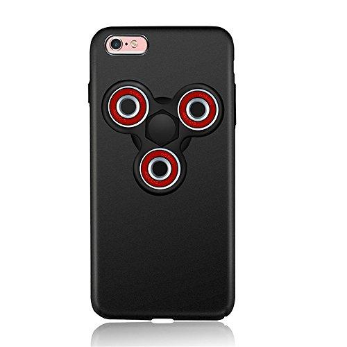"""Preisvergleich Produktbild KOSBON harte dünne schützende Abdeckungs-Fälle Telefon-Kasten mit Zappel-Finger-Spinner Protable entfernbar für IPhone 7/7 Plus Iphone 6 / 6s / 6Plus (For iPhone 6 Plus/6s Plus 5.5"""", C black case+black red spinner)"""