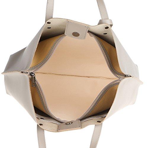 Chicca Borse Frau Handtasche aus echtem Leder Made in Italy 47x30x14 Cm Schlamm