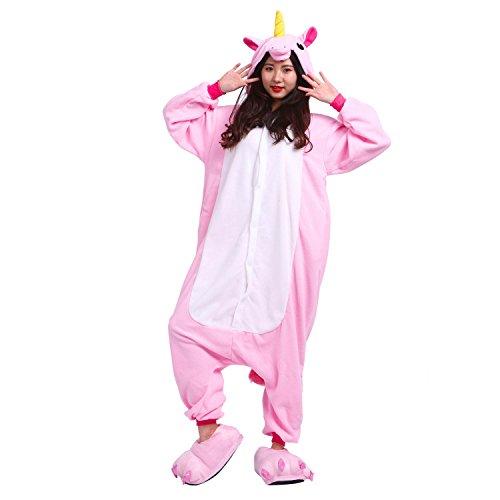 PALMFOX Kostüm Anime Tier Cosplay Hoodie Onesie Erwachsene Pyjamas Karikatur Partei Halloween NachtwäscheEinhorn Männer Frauen Unisex Kigurumi Känguru (Rosa, XL(180-190cm))