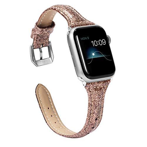Wearlizer für Apple Watch 42mm Armband Leder, Echtleder X Band für iWatch Straps Ersatz Lederarmband 42mm 44mm für Apple Watch Series 4 3 2 1 - Bling Kaffee