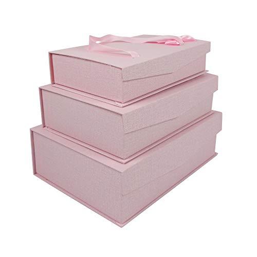 Emartbuy Set von 3 Starrer Luxus Rechteck Präsentation Geschenkbox, Rosa Box mit Magnetischer Klappe, Satinschleife und Tragegriff