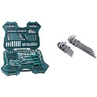 Mannesmann M98430 - Maletín con llaves de vaso y otras herramientas (215 piezas, tamaño: 12x36x51 cm) + M18170 - Juego de llaves allen hexagonales y de punta Torx (18 unidades)