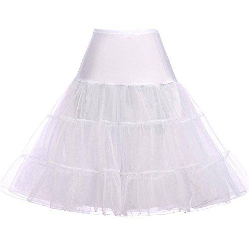 Petticoat Unterrock Petticoat Underskirt Crinoline für Rockabilly Kleid Weiss S,C1,Weiß