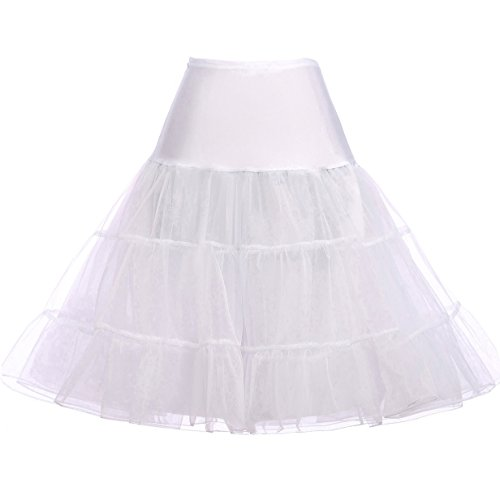 Petticoat Tutu-stil (Petticoat Unterrock Petticoat Underskirt Crinoline für Rockabilly Kleid Weiss S,C1,Weiß)
