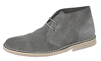 Mens Suede Leather Desert Boots with Cushioned Insole Grey size 8 UK