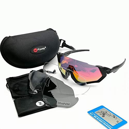 tryway 2018Polarisierte Sonnenbrille 3Lens Herren Sport Road MTB Brille Outdoor Angeln Fahrrad Flight Jacke Schutzbrille Ciclismo Cycling Frauen Eyewear, Herren, F1