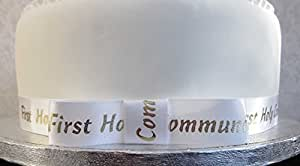 1 m x 20 mm blanc de première Communion avec ruban doré écriture Karen's Ruban en Satin Cake Toppers