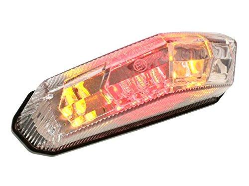 Motoflow Motorrad, Moped, Scooter, Roller Rücklicht Universal mit Blinkerfunktion, Bremslicht, Blinkerlicht Kennzeichnenleuchte und E-Geprüft für Derbi, Yamaha, KTM, Rieju, Aprilia