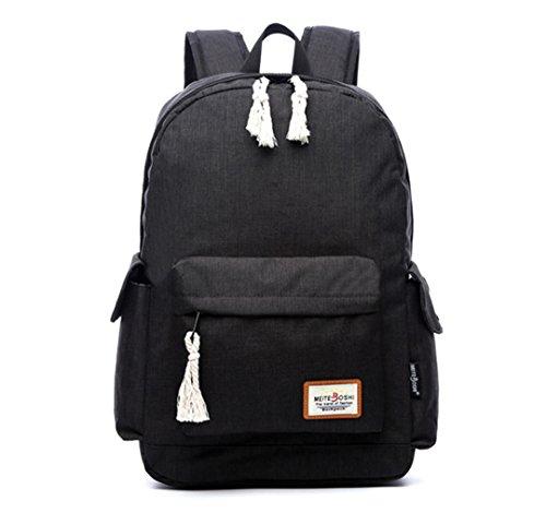 Wewod Junge Oxford Tuch Schultasche Multi-Taschen Mädchen Atmungsaktiv Rucksack mit Einzigartiges Geflochtenes Seildesign 15.6 Zoll Laptop 30*47*15 cm (Rucksack Multi-tasche)