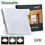 Ouesen 24W dimmbar Deckenleuchte quadratische Deckenleuchte für Schlafzimmer Wohnzimmer Badezimmer Energiesparlampen schaden nicht den Augen IP44,2050LM