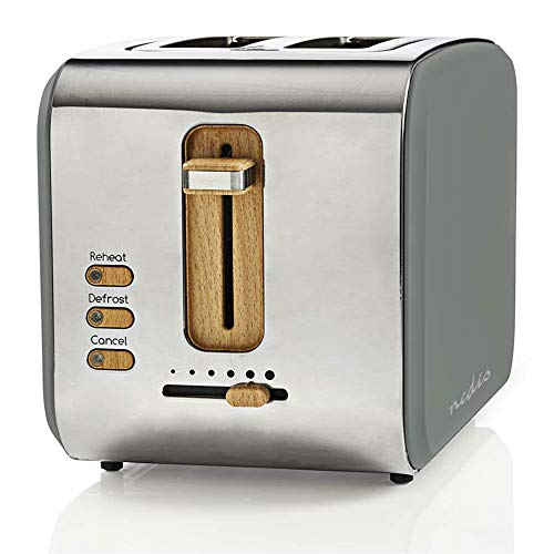 TronicXL ECO Toaster Holz Applikationen grau silber - Soft-Touch - 6-Stufen - 900W