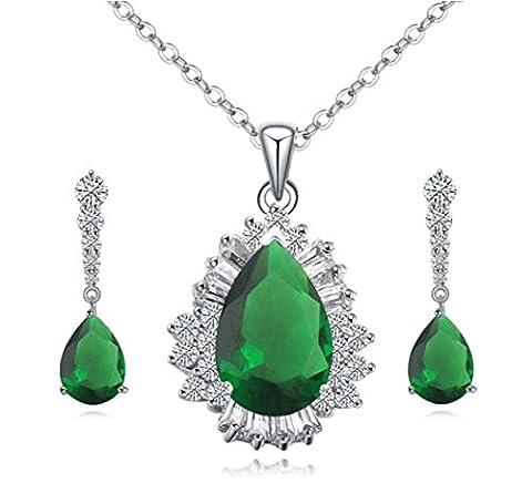 18K Plaqué or GP Vert émeraude swarovski Cristaux de collier–Boucles d