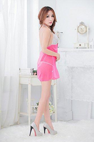 Shangrui Femmes Transparent Sous-vêtements de Dentelle Mignon Multicolore Sling Racy Jupe YF038 Rose