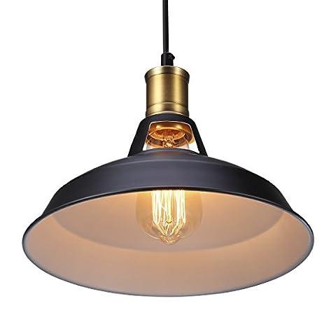 S & G Vintage Industrielle Pendelleuchten Hängeleuchten Decken Lampe für Wohnzimmer Esszimmer Restaurant Keller Untergeschoss Schwarzes (Groß) für E27 Leuchtmittel