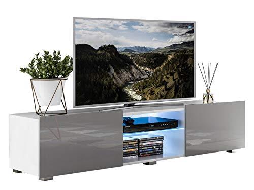 Mirjan24  TV-Lowboard Focus II, TV-Kommode, LED-Beleuchtung im Set, HiFi-Tische, TV-Schrank, Wohnzimmer Kollektion (Weiß/Grau Hochglanz)