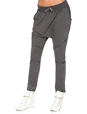 FUTURO FASHION Mujer Pantalón de Chándal Tiro Caído Pantalones Pantalones Harén Universal Tamaño 8-14 GB FT3007