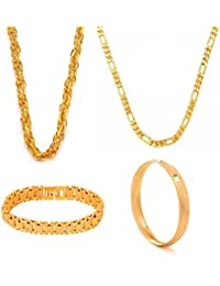 High Polished Jewellery Set Gold Plated Combo Classic 2 Chain,Bangle & Bracelet for Boys & Mens by GoldNera Size 2.10