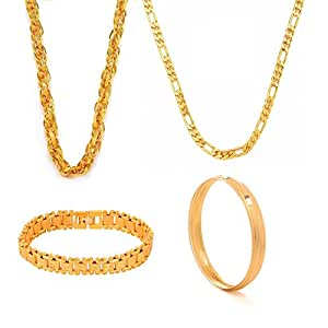 Gold Nera Boys Jewellery Set Gold Plated Combo Classic 2 Chain,Bangle & Bracelet
