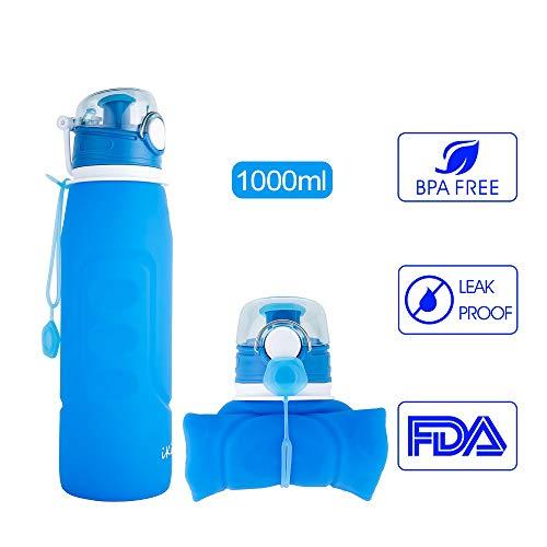 iKiKin Unisex Adult Wasserflasche, Gel, Medical Grade, BPA frei, Leckproof Silikon Faltbare Sportflasche für Sport, Outdoor, Reisen, Camping, Picknick (1000ml 1L 35 oz) (Blau) -