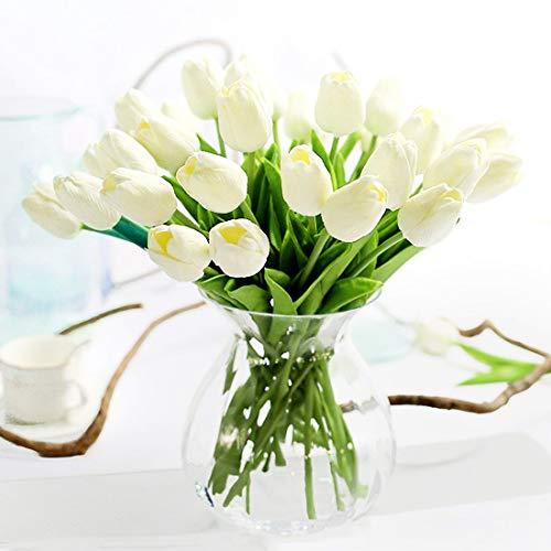 justoyou Künstliche Tulpen, für Hochzeiten, als Dekoration, Textil, weiß, 10 Stück
