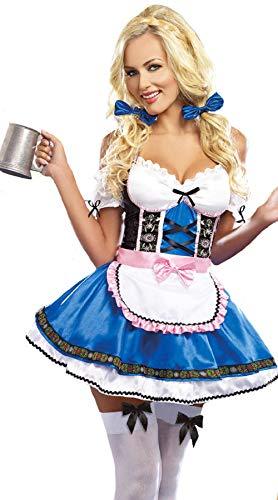 Frauen Deutsch Kostüm - S-6XL Dirndl Deutsch Beer Maid Kostüme Frauen Oktoberfest Karneval Kostüm@BLAU 2_S