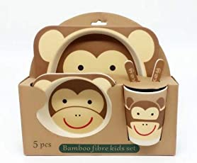 W Retails Cartoon Character dinner set 100% Natural,Bio-degradable,Harmless,Eco Friendly Bamboo Fibre Dinner Set Kids / Infant Toddler Feeding Set - 1 Set includes 5pcs (1 Plate, 2 spoons, 1 bowl, 1 glass)